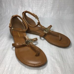 Tommy Hilfiger Henri Brown Leather Thong Sandals